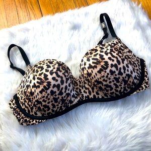 Leopard print balconet push-up bra NWOT